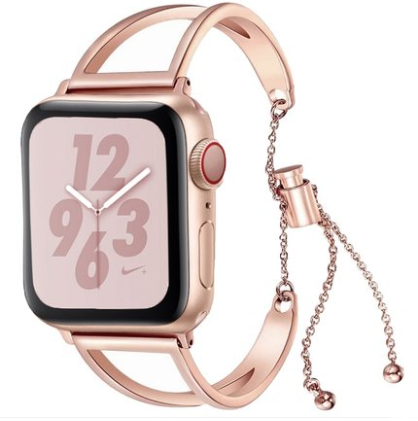 Applicable =watch series 4 strap iwatch3/4 watch strap female rose gold hollow bracelet 2/1 generation metal stainless steel tide 44/40/42/38mm