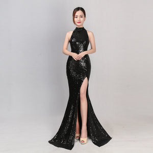 Clothing,Split long hanging neck sequins fishtail slim evening dress nightclub dress,guiro,Zeinab Fashion.