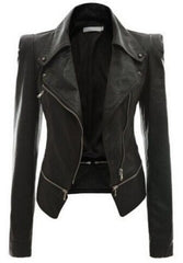 Womens Genuine Motorcycle Leather Jacket Zipper Leather Jacket