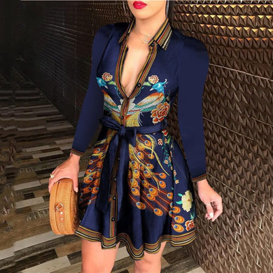 ,Autumn Sexy Long Sleeve Deep V Neck Bandage Fashion Chain Print Mini Dress Casual Women Office Bodycon Retro Shirt Dress Vestido,guiro,FreeDropship.