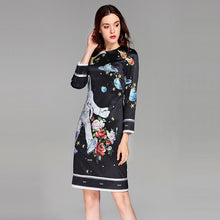 Load image into Gallery viewer, ,Best Quality 2018 Spring&Summer Newest O-Neck full Sleeve Spaceman Print Silm Black ELegant Above Knee A-Line Dress Women,guiro,FreeDropship.