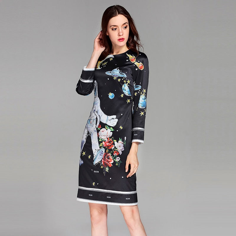 ,Best Quality 2018 Spring&Summer Newest O-Neck full Sleeve Spaceman Print Silm Black ELegant Above Knee A-Line Dress Women,guiro,FreeDropship.