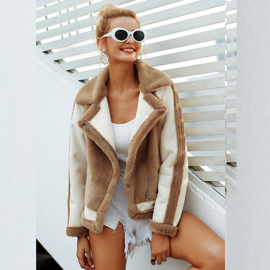 European And American Fashion Contrast Color Stitching Fur Coat Female Simple Retro Faux Fur