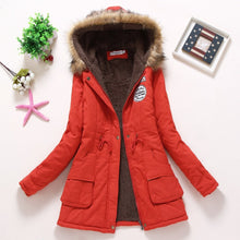 Load image into Gallery viewer, ,Fitaylor New Winter Padded Coats Women Cotton Wadded Jacket Medium Long Parkas Thick Warm Hooded Quilt Snow Outwear Abrigos,guiro,FreeDropship.