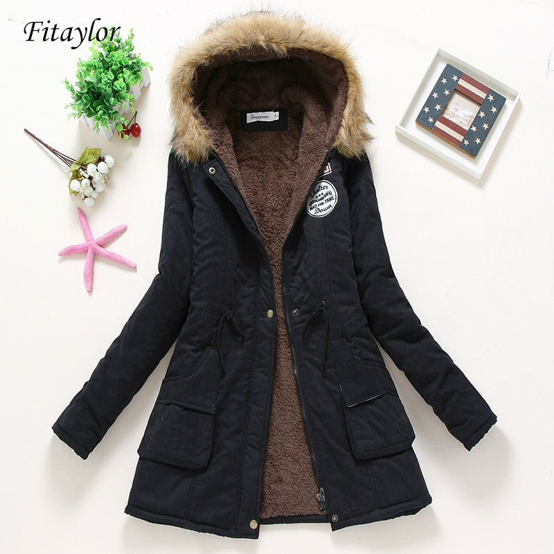,Fitaylor New Winter Padded Coats Women Cotton Wadded Jacket Medium Long Parkas Thick Warm Hooded Quilt Snow Outwear Abrigos,guiro,FreeDropship.