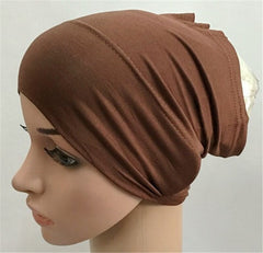 Soft Modal Inner Hijab Caps Muslim Stretch Turban Cap Islamic Underscarf Bonnet Hat Female Tube Headband
