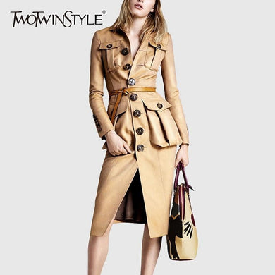200001909,TWOTWINSTYLE PU Leather Women's Windbreaker Lapel Collar Long Sleeve High Waist Trench Coats Female 2020 Autumn Fashion New,guiro,Cosmiz.