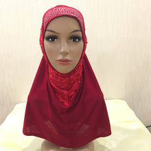 Load image into Gallery viewer, 200003922,H079 beautiful muslim girls hijab with lace and beads pull on amira islamic scarf head wrap,guiro,Zeinab Fashion.