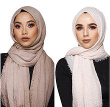 Load image into Gallery viewer, 200003922,Women Muslim Crinkle Hijab Scarf Soft Cotton Headscarf Islamic Hijab Shawls And Wraps,guiro,Zeinab Fashion.