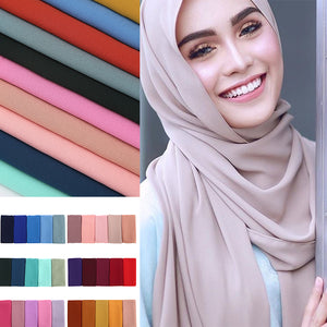 200000399,women plain bubble chiffon scarf hijab wrap printe solid color shawls headband muslim hijabs scarves/scarf 47 colors,guiro,Zeinab Fashion.