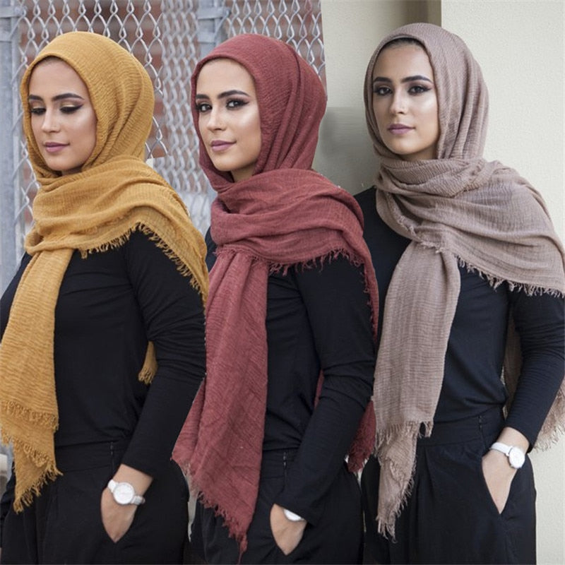 200003922,2019 Novelty Crinkle Hijab Cotton Linen Muslim Woman Shawls Turban Islamic Clothing Head Wrap Instant foulard Headwear Scarf,guiro,Zeinab Fashion.