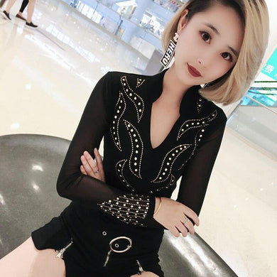 200000791,Sexy Mesh Transparet Tshirt V-Neck Pullover Diamonds 2019 New Spring Autumn Women Long Sleeve T Shirts Tops Bottoming T93307,guiro,Cosmiz.