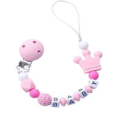 200002052,1pcs Pink Silicone Personalised Name Baby Pacifier Clips Crochet Beads Silicone Crown Pacifier Chain Holder Baby Shower Gift,guiro,Cosmiz.