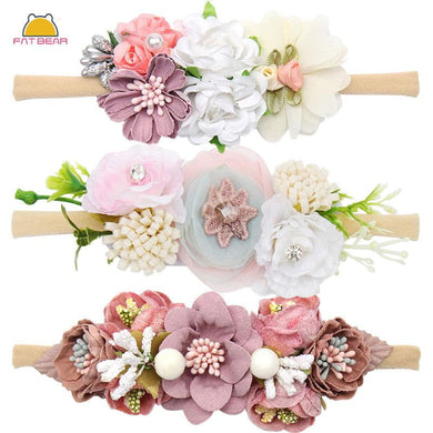 200003831,Peral Baby Headbands Flower For Girls Handmade Bundle Nylon Elastic Hair Band Baby Hairband Headdress Newborn Hair Accessories,guiro,Cosmiz.