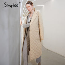Load image into Gallery viewer, ,Simplee Fashion female winter windproof jacket  Casual sashes women winter parka Long straight coat with rhombus pattern 2020,guiro,FreeDropship.