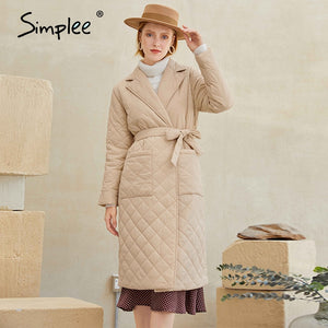 ,Simplee Fashion female winter windproof jacket  Casual sashes women winter parka Long straight coat with rhombus pattern 2020,guiro,FreeDropship.