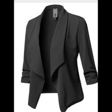 Load image into Gallery viewer, ,Slim Long Sleeved Pleated Solid Color Versatile Small Blazer,guiro,Unbranded.