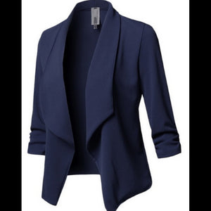 ,Slim Long Sleeved Pleated Solid Color Versatile Small Blazer,guiro,Unbranded.