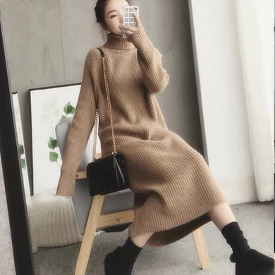 ,Turtleneck knitted sweater dress ladies fall winter elastic cashmere bottoming shirt midlength over the knee thick sweater dress,guiro,FreeDropship.