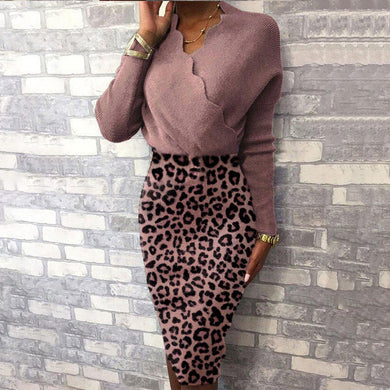 ,Women's V-Neck Knitted Dress 2021 Leopard High Waist Hip Package Office Lady Sexy Party Dresses Autumn Ladies Elegant Vestidos,guiro,FreeDropship.