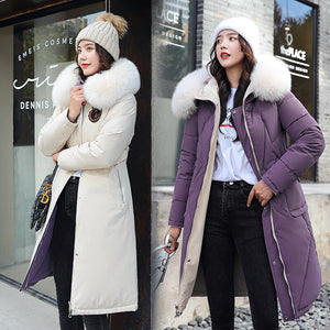 ,ZQLZ Winter Jacket Women 2020 Plus Size Hooded Fur Collar Black Long Parka Mujer Casual Loose Warm Thick Down Cotton Coat Female,guiro,FreeDropship.