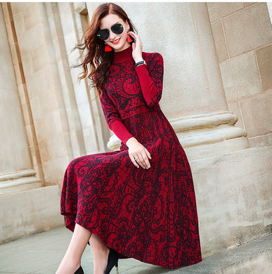 ,ZUOMAN Red autumn/winter 2020 new turtle neck long sleeve cultivate one's temperament sweater knitting dress knee-length dress,guiro,FreeDropship.