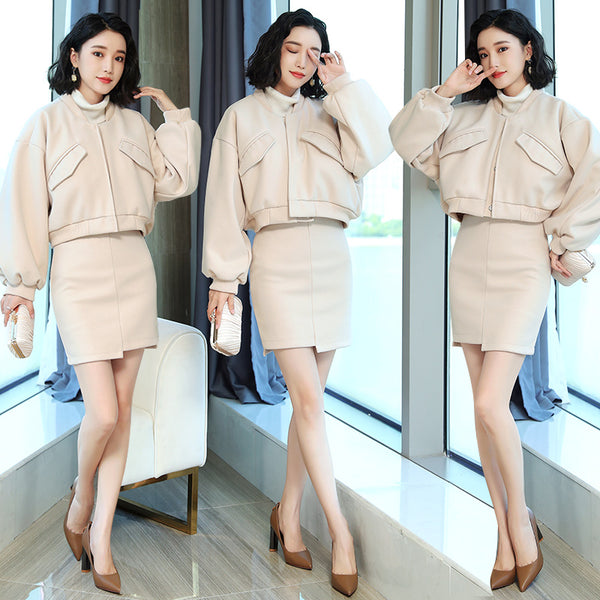 Fashion Splicing Temperament Fashion Leisure Long Sleeve Received Sleeves Autumn 2020 Suit/Skirt