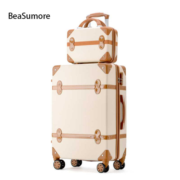 - New Retro Rolling Luggage Set Spinner Women Travel Bag Suitcase Wheels Password Trolley Student Carry On Trunk - guiro - Zeinab Fashion