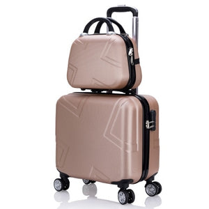 ",Travel suitcase set Rolling Luggage set Spinner trolley case 18"" boarding wheel Woman Cosmetic case carry-on luggage travel bags,guiro,Zeinab Fashion."