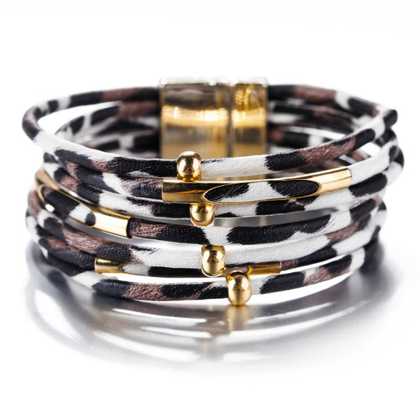 - Amorcome Leopard Leather Bracelets For Women 2019 Fashion Bracelets & Bangles Elegant Multilayer Wide Wrap Bracelet Jewelry - guiro - Guiro