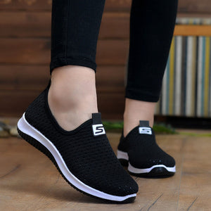 - Women Flat Plus Size Breathable Mesh Sneakers Summer Slip On Platform Knitting Flats Soft  Fashion 2019  Red  Walking Shoes - guiro - Zeinab Fashion
