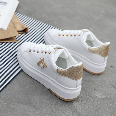 ,Women Casual Shoes 2019 New Women Sneakers Fashion Breathable PU Leather Platform White Women Shoes Soft Footwears Rhinestone,guiro,Zeinab Fashion.