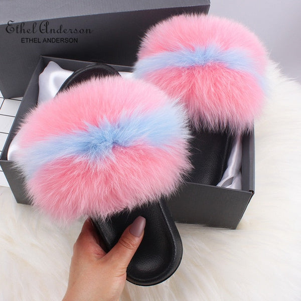 - Ethel Anderson Fluffy Slippers Real FOX Fur Slides Indoor Flip Flops Casual Shoes Woman Raccoon Fur Sandals Vogue Plush Shoes - guiro - Zeinab Fashion