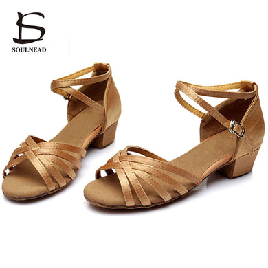 Women Shoes - Children Latin Tango Dance Shoes High Quality Woman Ballroom Dancing Shoes Dance Shoes for Girls Low Heel Salsa Sandals - guiro - Zeinab Fashion