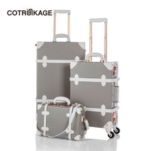 "Load image into Gallery viewer,  - COTRUNKAGE 13"" 20"" 26"" Grey Travel Suitcase Sets Ladies Pu Leather 3 Piece Womens TSA Vintage Trolley Luggage Trunk with Wheels - guiro - Zeinab Fashion"