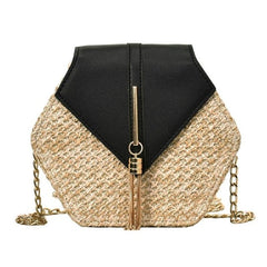 - Hexagon Style Straw Shoulder Bag Women Summer Rattan Bag Handmade Woven Beach Bohemia bolsa feminina Fashion chain Crossbody bag - guiro - Zeinab Fashion