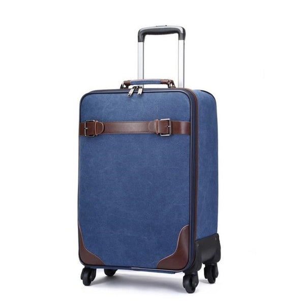 - New Retro Simple Canvas Universal Wheel Trolley Case Boarding Password Box Outdoor Durabl Suitcase - guiro - Zeinab Fashion