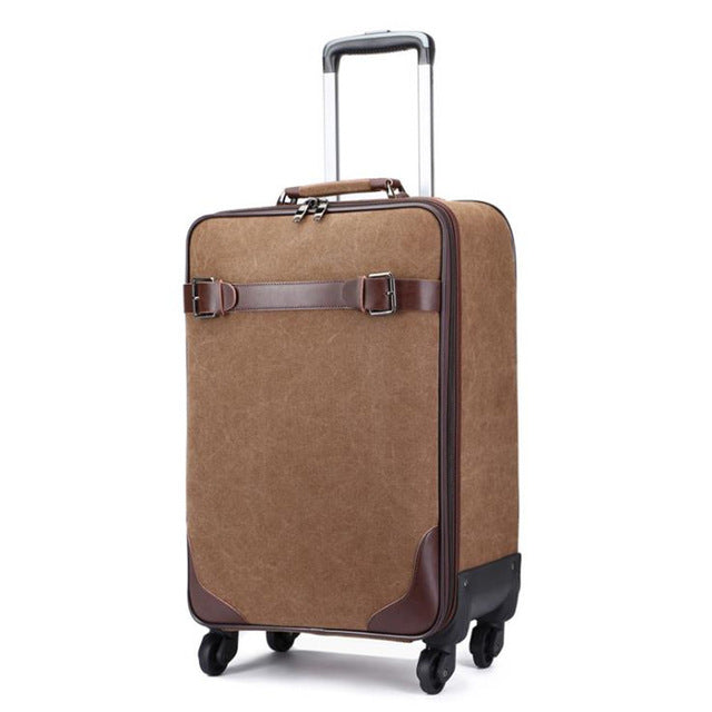 ,New Retro Simple Canvas Universal Wheel Trolley Case Boarding Password Box Outdoor Durabl Suitcase,guiro,Zeinab Fashion.