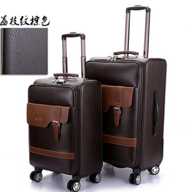 ,Extravagant And Noble Business Simulation Leather Boarding Rolling Luggage Spinner Travel Suitcase, Travel Bag,guiro,Zeinab Fashion.