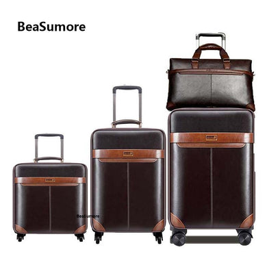,Men Business Rolling Luggage Set Spinner Retro Wheel Suitcases Cabin Trolley Password Travel Bag,guiro,Zeinab Fashion.