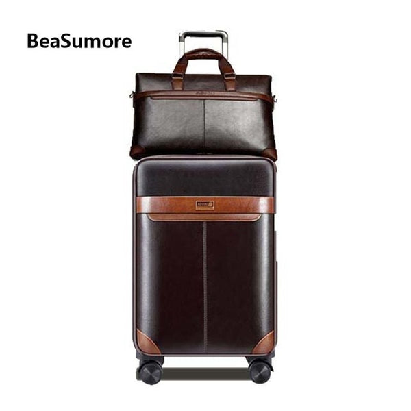- Men Business Rolling Luggage Set Spinner Retro Wheel Suitcases Cabin Trolley Password Travel Bag - guiro - Zeinab Fashion