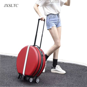 - Women's cute round handbag and Trolley suitcase Carry On Luggage Rolling Luggage Trolley Suitcase girl hard case suitcase travel - guiro - Zeinab Fashion