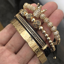 Load image into Gallery viewer,  - Hot Sale Classical Handmade Braiding Bracelet Gold Hip Hop Men Pave CZ Zircon Crown Roman Numeral Bracelet  Luxury Jewelry - guiro - Guiro
