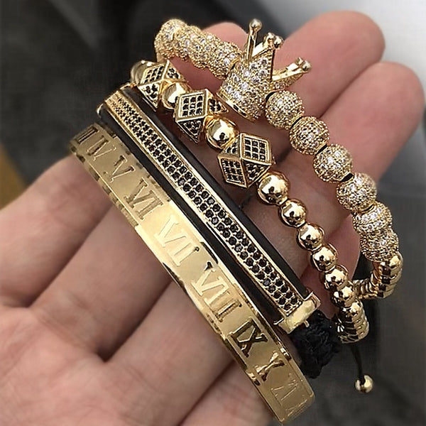 - Hot Sale Classical Handmade Braiding Bracelet Gold Hip Hop Men Pave CZ Zircon Crown Roman Numeral Bracelet  Luxury Jewelry - guiro - Guiro