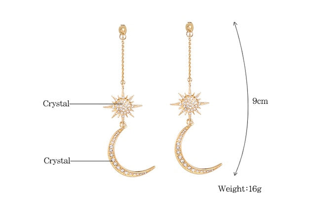 - KISS ME Newest Shiny Crystal Star Moon Earrings Charming Earrings for Women 2019 Fashion Jewelry Brincos - guiro - Guiro