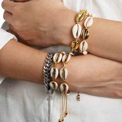 ,Gold Color Cowrie Shell Bracelets for Women Delicate Rope Chain Bracelet Beads Charm Bracelet Bohemian Beach Jewelry,guiro,Guiro.