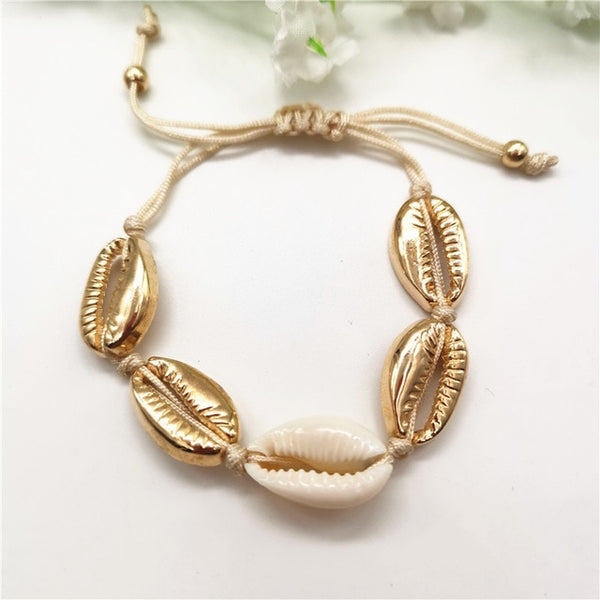 - Gold Color Cowrie Shell Bracelets for Women Delicate Rope Chain Bracelet Beads Charm Bracelet Bohemian Beach Jewelry - guiro - Guiro
