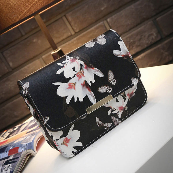- Women Floral Leather Shoulder Bag Satchel Handbag Retro Messenger Bag Famous Designer Clutch Shoulder Bags Bolsa Bag Black White - guiro - Guiro