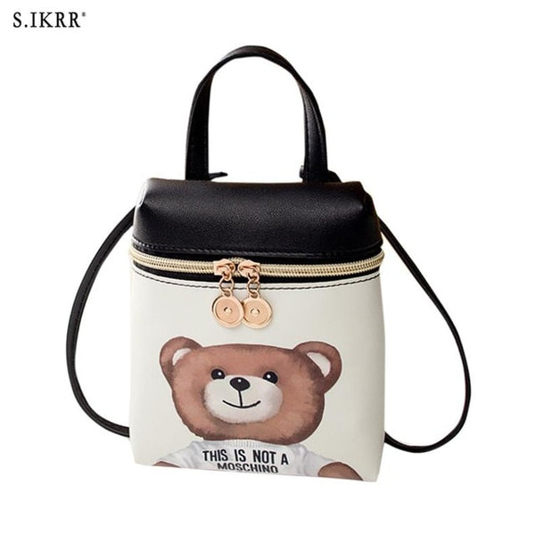 - Fashion PU Leather Mini Women Mobile Phone Bags Crossbody Cute Cartoon Bear Handbag Female Multi-function Shoulder Bags - guiro - Zeinab Fashion