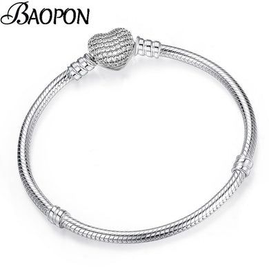 ,BAOPON High Quality Authentic Silver Color Snake Chain Fine Bracelet Fit European Charm Bracelet for Women DIY Jewelry Making,guiro,Guiro.